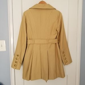 Guess Jackets & Coats - Guess Belted Double Breasted Soft Trench Pleats S